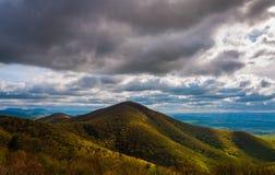 Aftonsikt av de Appalachian bergen i den Shenandoah nationalparken, Virginia. Arkivfoto