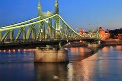 Aftonsikt av den gamla Liberty Bridge i Budapest Royaltyfri Fotografi