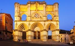 Aftonsikt av domkyrkan i Cuenca Arkivfoto