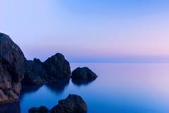 Aftonsikt av havet Crimea Ukraina arkivfoto