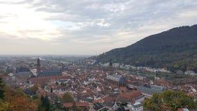 Aftonsikt av Heidelberg den gamla staden, Tyskland Arkivbilder