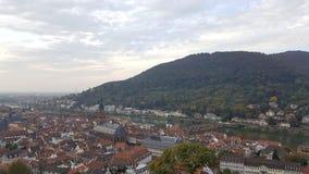 Aftonsikt av Heidelberg den gamla staden, Tyskland Arkivbild