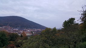 Aftonsikt av Heidelberg den gamla staden, Tyskland Arkivfoton