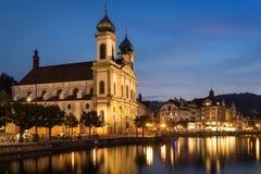 Aftonsikt av jesuitkyrkan, Lucerne Fotografering för Bildbyråer