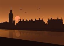 Aftonsikt av London stock illustrationer