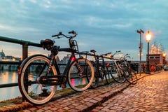 Aftonsikt av parkerade cyklar tillsammans med den holländska floden Maas Arkivbild
