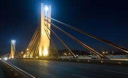 Aftonsikt av Pont de Kunna Peixauet Santa Coloma spain fotografering för bildbyråer