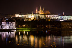 Aftonsikt av Prague. Tjeckien Royaltyfria Bilder