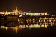 Aftonsikt av Prague. Tjeckien Arkivfoto