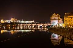 Aftonsikt av Prague. Tjeckien Fotografering för Bildbyråer