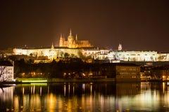 Aftonsikt av Prague. Tjeckien Arkivbilder