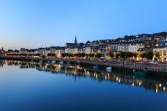 Aftonsikt av promenadstaden av Trouville, Normandie, franc Royaltyfria Foton