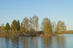 Aftonsikt av sjön med reflexion av träd i vattnet Fotografering för Bildbyråer
