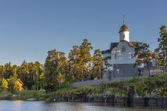 Aftonsikt av Smolensk Skete från sjön Horisontal inrama Arkivfoton