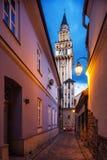 Aftonsikt på den helgonNikolas cathedraen i Bielsko-Biala, Polen Royaltyfria Foton