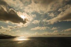 Aftonsol över Ile Rousse i Korsika Royaltyfria Bilder