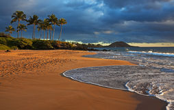 Aftonsunburst, Hawaii arkivbilder