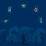 Aftonträdgård med stearinljus Vektor Illustrationer