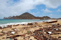 Afval op het Medano-strand Stock Fotografie