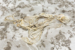 Afval op het strand Royalty-vrije Stock Afbeeldingen