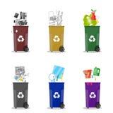 afval recyclingscategorieën Huisvuilbakken vector illustratie
