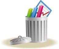 Afvalbak met bedrijfstekens Stock Fotografie