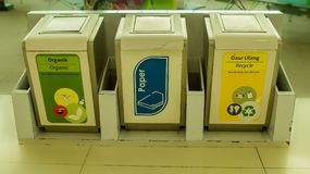 Afvalbak voor verschillend type van huisvuil De kringloopbak van het afval stock fotografie