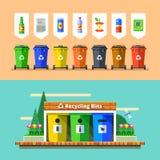 Afvalbeheer en kringloopconcept Vlakke vector stock afbeeldingen