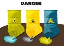 Afvalproduktenstroom van de vaten met het teken van gevaarlijk Vector vector illustratie