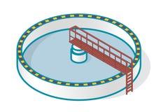 Afvalwaterzuiveringsinstallatie in gestileerd overzichts vectorsymbool Isometrische infographics Stock Foto