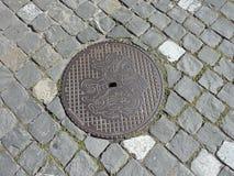 Afvoerkanaaldekking - Stein am Rhein, Zwitserland Royalty-vrije Stock Afbeeldingen