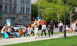 In afwachting van 9 Mei de Parade van de Overwinningsdag in Moskou 2016 Royalty-vrije Stock Afbeeldingen