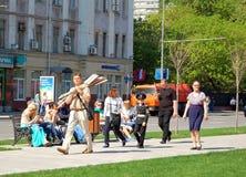 In afwachting van 9 Mei de Parade van de Overwinningsdag in Moskou 2016 Royalty-vrije Stock Afbeelding