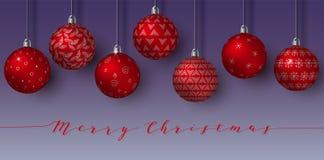 In afwachting van rode geïsoleerde Kerstmisballen Gelukkig Nieuwjaar hangende gebieden met verschillende eenvoudige ornamenten Na vector illustratie