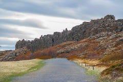 Afwijking van de tectonische platen op Phingvellir/Thingvellir Royalty-vrije Stock Afbeeldingen
