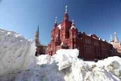 Afwijkingen van sneeuw op Rood Vierkant in Moskou, sneeuw, onweer Stock Fotografie