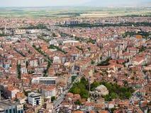 Afyon, die Türkei - 12. Mai 2017: Bunte Osmanehäuser in Afyon, Stockbild