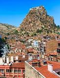 Afyon miasteczko i Karahisar kasztel, Turcja Obrazy Royalty Free