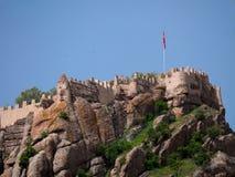 Afyon, Turkey - May 12, 2017: ancient castle in Afyon, Turkey. Afyon, Turkey - May 12, 2017: ancient historic castle in Afyon, Turkey Royalty Free Stock Photos