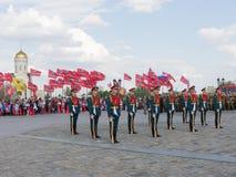 154 afzonderlijk Preobrazhensky Regiment in Victory Park op Poklonna Royalty-vrije Stock Foto