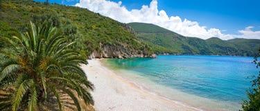 Ag Giannakis plaża blisko Parga wioski, Grecja Obrazy Royalty Free