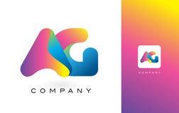 AG Logo Letter With Rainbow Vibrant Mooie Kleuren Kleurrijk t Stock Afbeeldingen