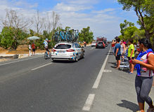 AG2R losu angeles Mondiale samochód I jeźdza los angeles Vuelta España Fotografia Stock
