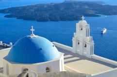 Ag. Theodori church and volcanic caldera, Santorini, Greece Royalty Free Stock Photography