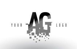 AG un logo de lettre de pixel de G avec les places noires brisées par Digital Photographie stock