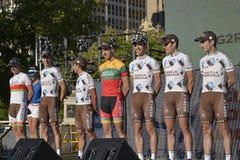 AG2R-LAMondiale yrkesmässigt cykla lag Arkivfoto