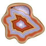 agaat Edelsteen, halfedelsteen, mineraal Sectie druses Vector illustratie Textuur van lagen van steen geology vector illustratie
