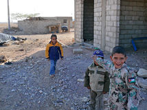 AGABA, JORDAN - NOVEMBER 6, 2008: Unfamiliar smiling children on Royalty Free Stock Photography