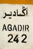 Agadir 242km. Travel in Morocco, going to Agadir Stock Photo