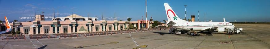 Agadir Al Massira lotnisko, Marocco, Główny Śmiertelnie budynek i fartuch, - aga, GMAD zdjęcie stock